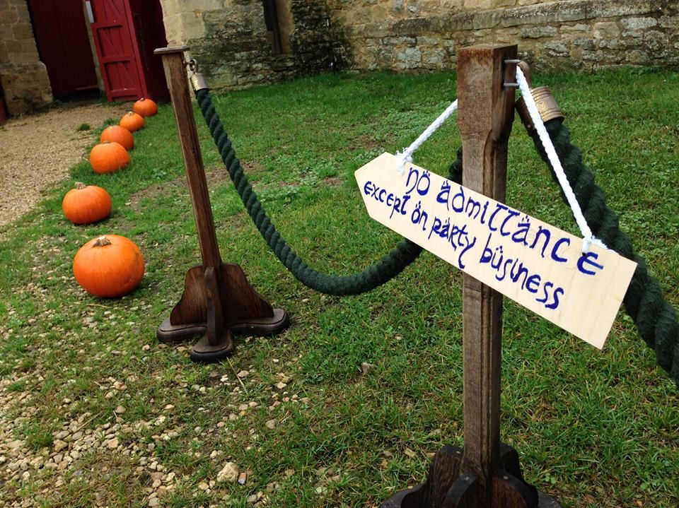 Fall wedding decor and geeky sign