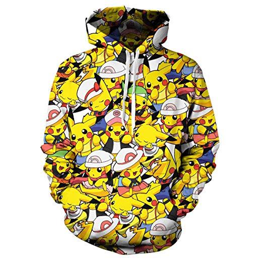 Lontse Hoodies 3D Pocket Monster Print Sweatshirts Anime