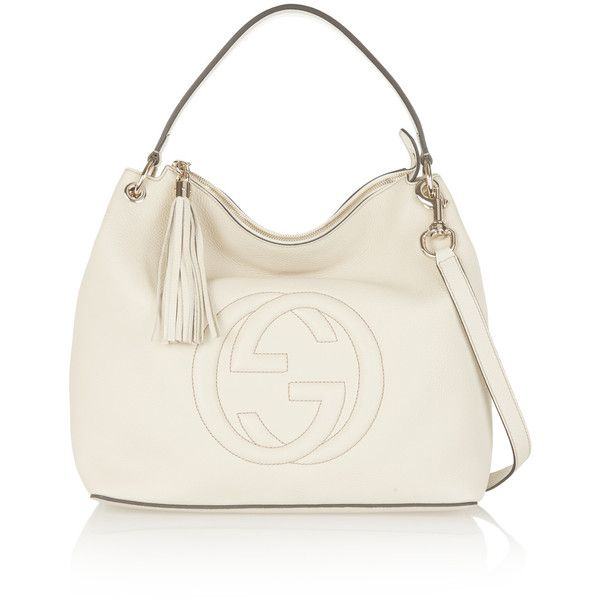 ee7782862dce Gucci Soho Hobo large textured-leather shoulder bag ($1,790) ❤ liked on  Polyvore featuring bags, handbags, shoulder bags, cream, gucci handbags,  hobo ...