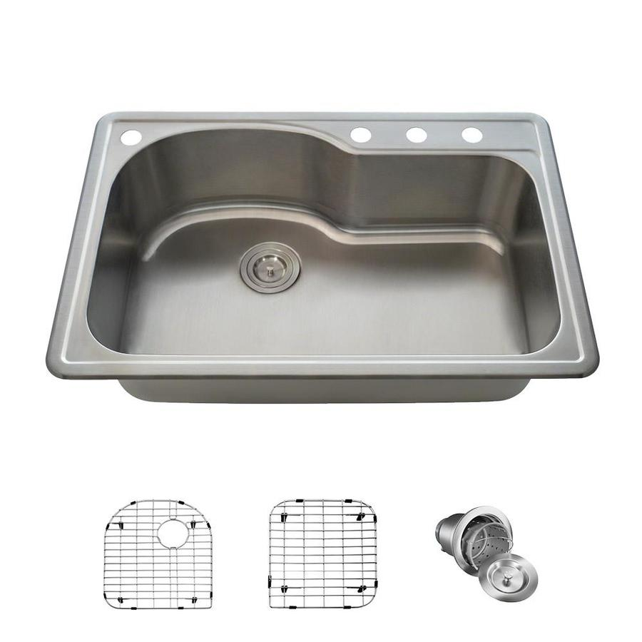 Mr Direct Drop In 33 In X 22 In Stainless Steel Single Bowl 4 Hole Kitchen Sink Lowes Com Sink Single Bowl Kitchen Sink Drop In Kitchen Sink 33 x 22 kitchen sink single bowl