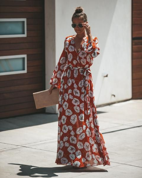 We Love The Color Palette On This One Our Icelandic Poppy Maxi Dress Is Rust With Ice Blue Black And Taupe Florals Maxi Dress Fashion Maxi Dress With Sleeves