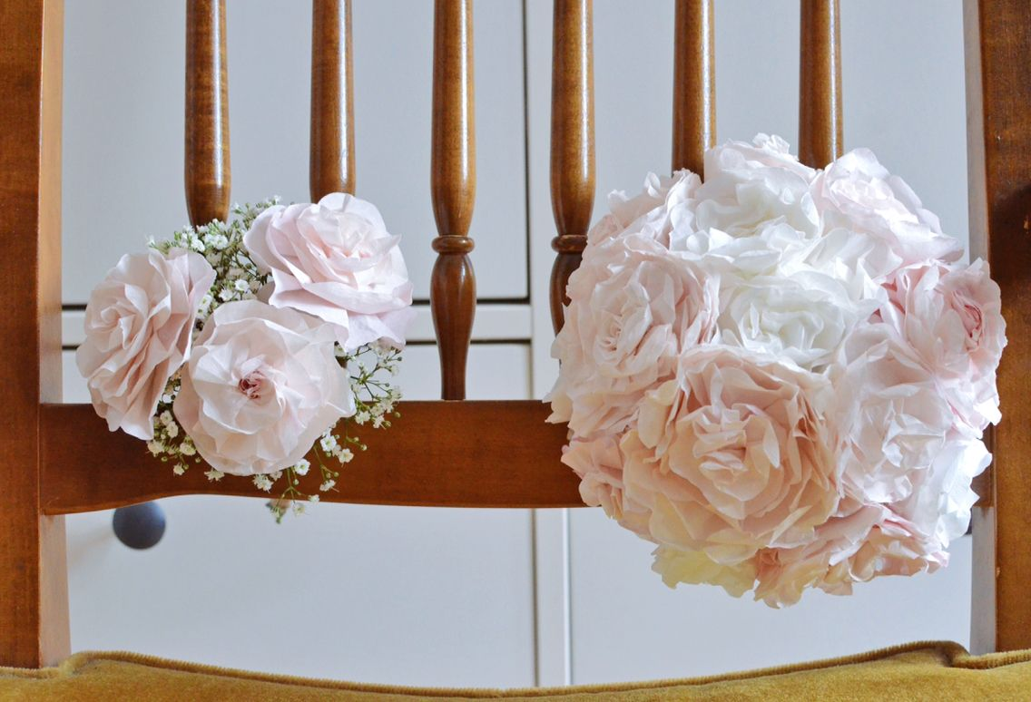 Paper flower bouquet and bridesmaid posy, made from dyed coffee filters. Probably my favourite DIY from my wedding