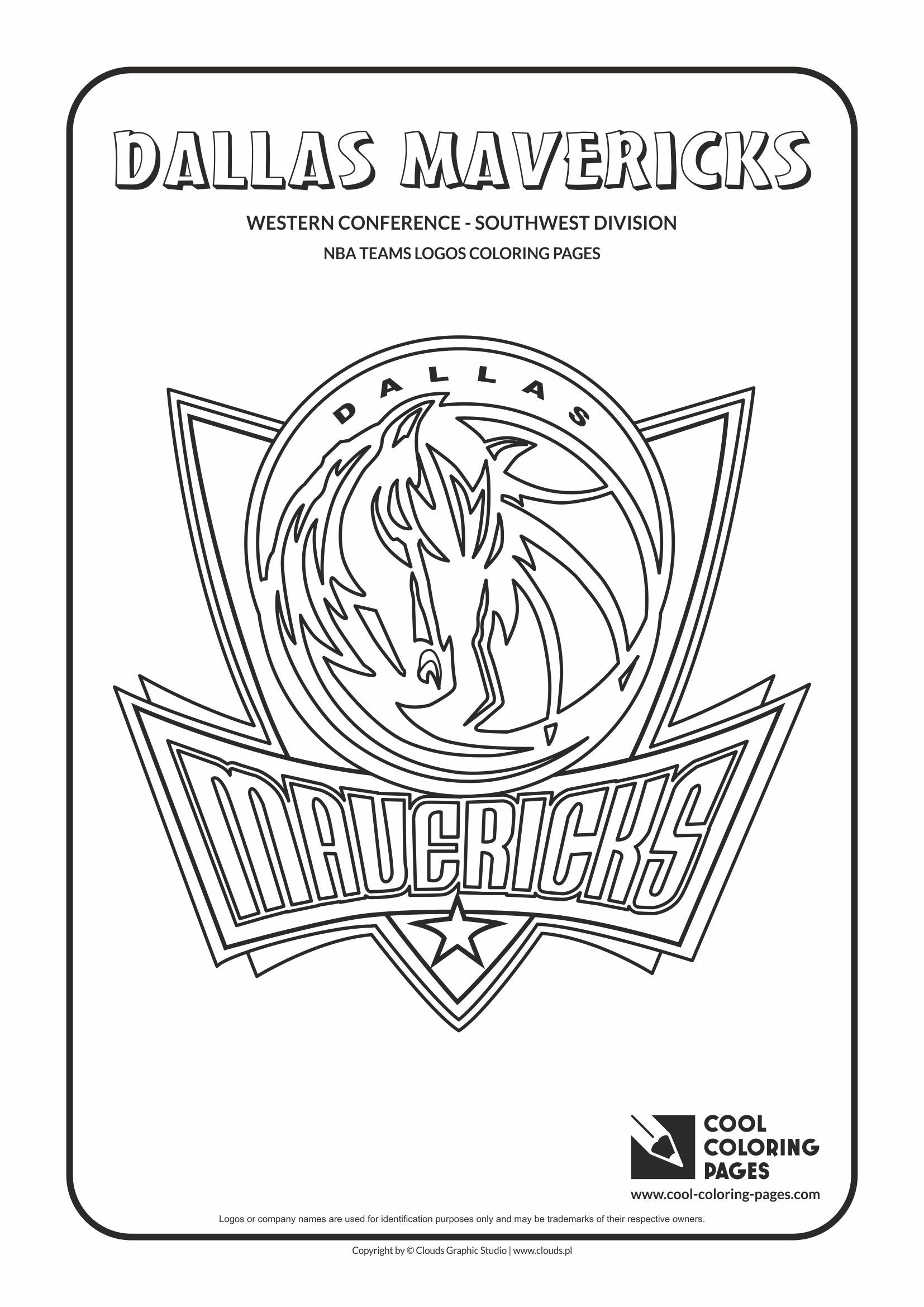 Dallas Mavericks - NBA basketball teams logos coloring pages
