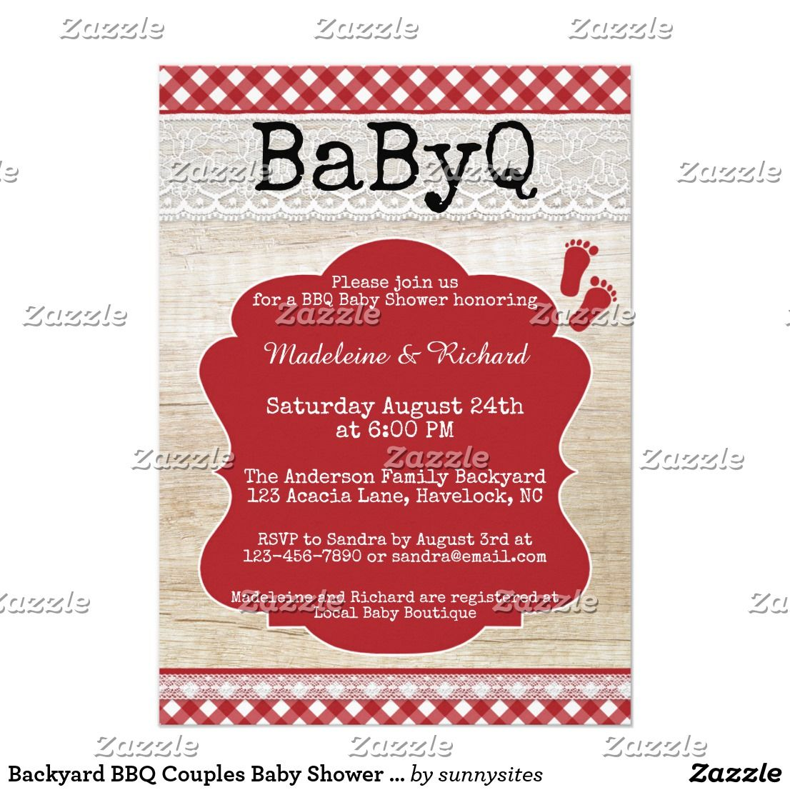 backyard bbq couples baby shower invitation baby shower