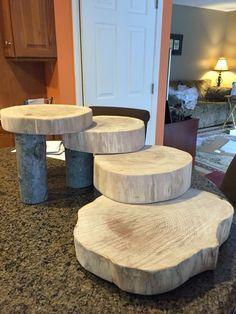 Wood Slab Stair Display Diy Cupcake Stand Rustic Diy Decor