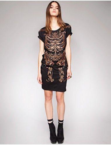 Skeletal black dress