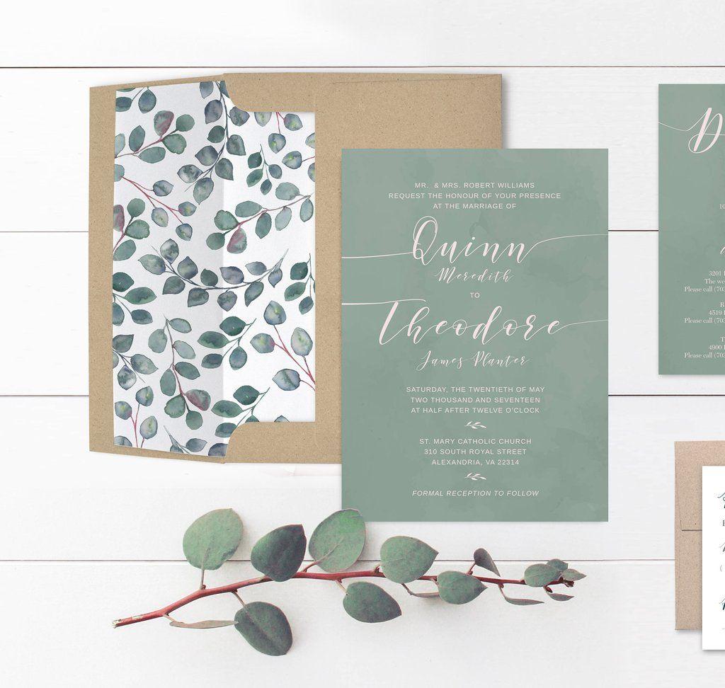 Elegant Eucalyptus Wedding Invitation Creative wedding