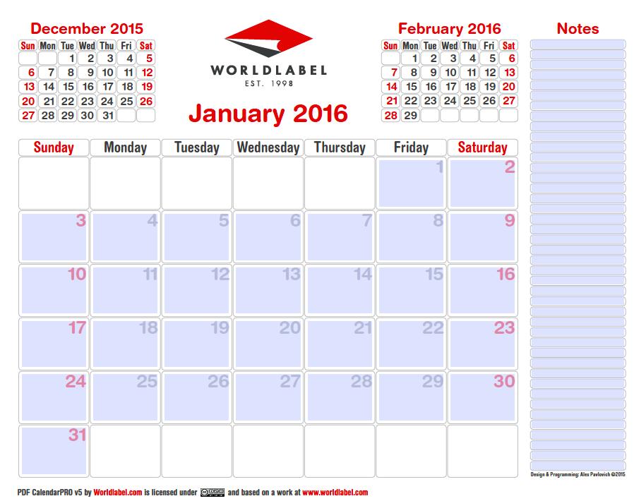 free printable 2016 calendar pro editable and fillable pdf