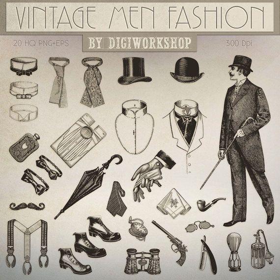Fashion Clip Art Quot Vintage Men Fashion Quot Victorian Clipart Contains Various Elements Of Vin Clip Art Vintage Vintage Clothing Men Vintage Mens Fashion