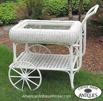 Wicker tea cart.
