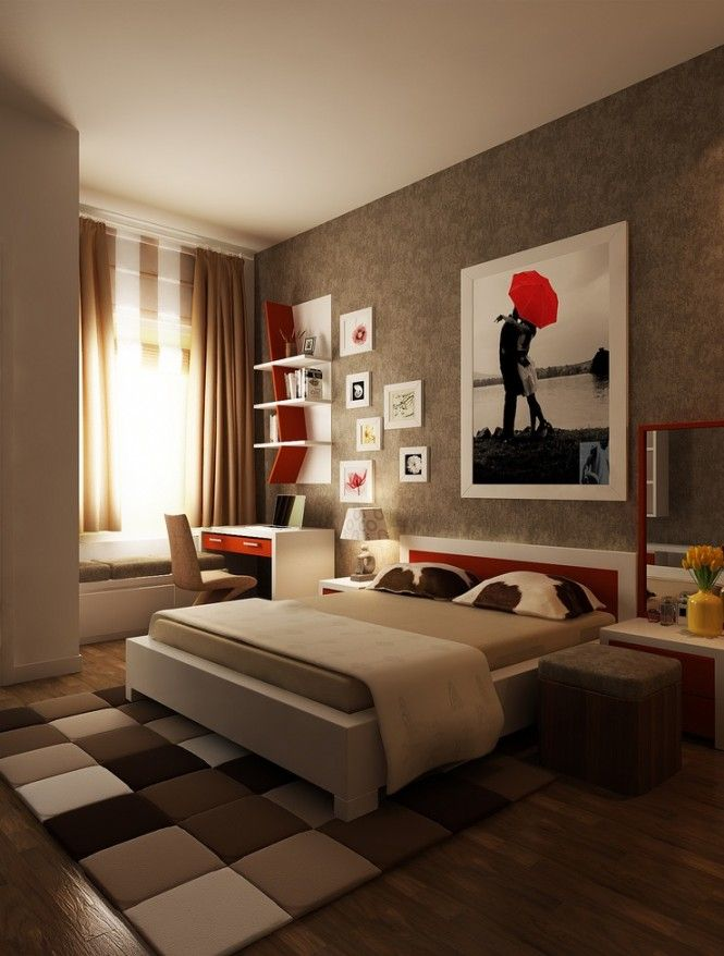 red brown white bedroom layout of modern smart and sassy bedrooms from bedroom designs - Brown Themed Bedroom Designs