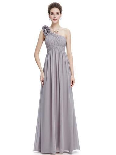 One Shoulder Floral Padded Gray Prom Evening Dress - Ever-Pretty ...