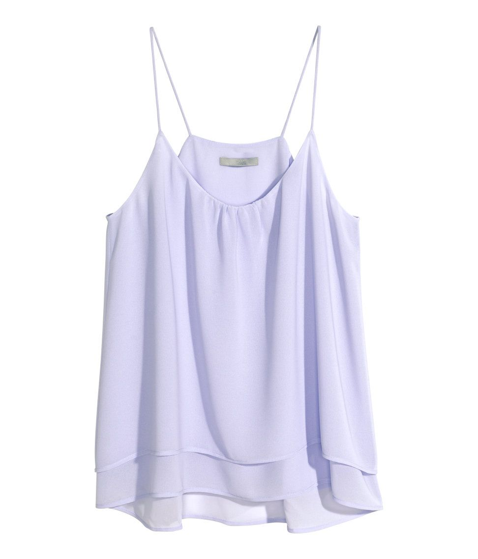 574d12be726 Airy light purple spaghetti strap top with decorative gathers   layered  fabric tiers.