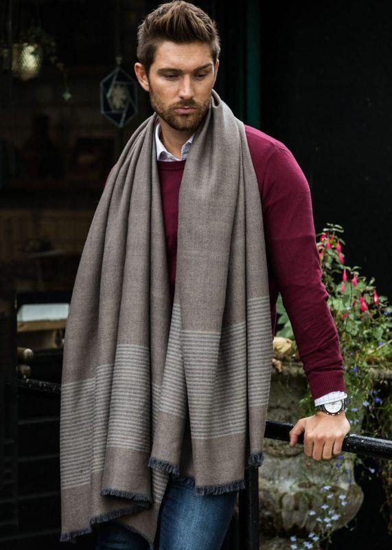Merino Wool Handwoven Oversize Scarf with Stripes Mushroom Melange 100 X 200cm #mensscarves