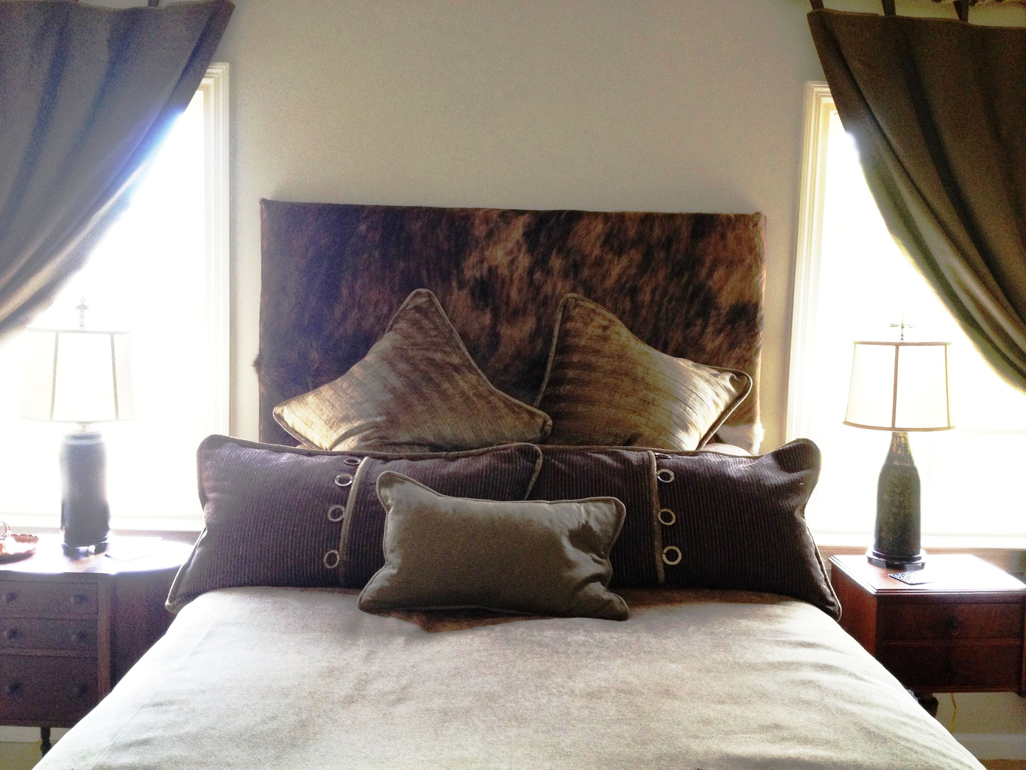 Luke S Room Tony And I Made Padded Headboard Out Of Cowhide All