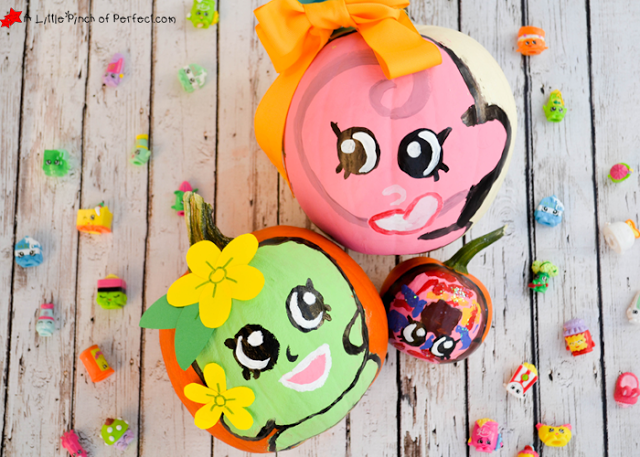 Cute Shopkins No Carve Pumpkin Ideas for Halloween! (Apple Blossom, Lolli Poppins, D'lish Donut)