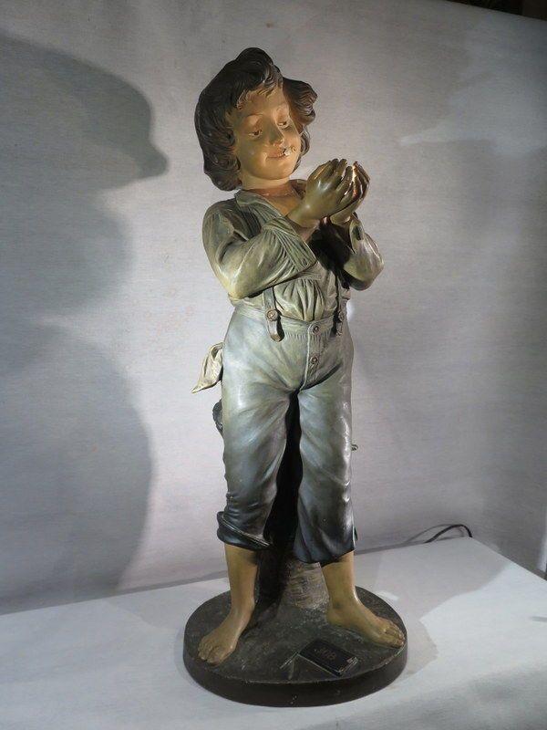 A.DE RANIERI ANCIENNE SUPERBE SCULPTURE LAMPE BUBLICITAIRE JOB POLYCHROME ENFANT | eBay