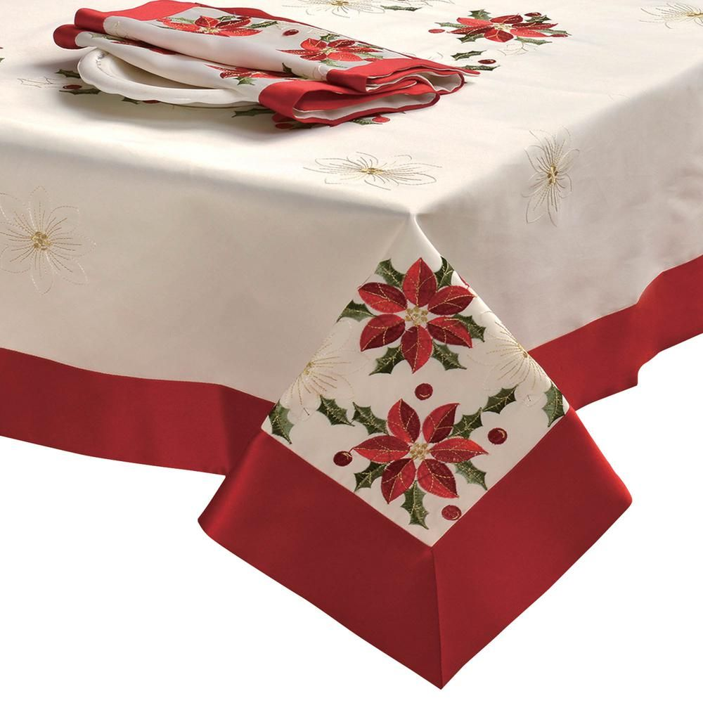 """Red Pointsettia Candle Bell Christmas Embroidery 36x36/"""" Square Tablecloth"""