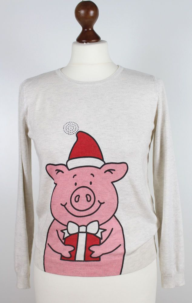 Details about MS Jumper S UK 8 Ladies Christmas Jumper Xmas Holiday