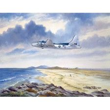 B17 Over Benbecule Beach by Rob Johnson Metal Wall Sign