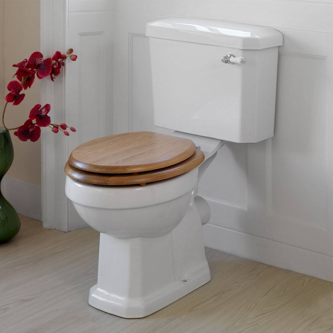 this oak wooden toilet seat is the perfect match for the winchester toilet and cistern and