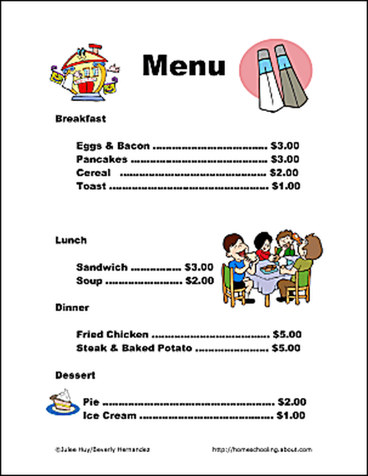 Free Printable Help Children Engage in Pretend Restaurant