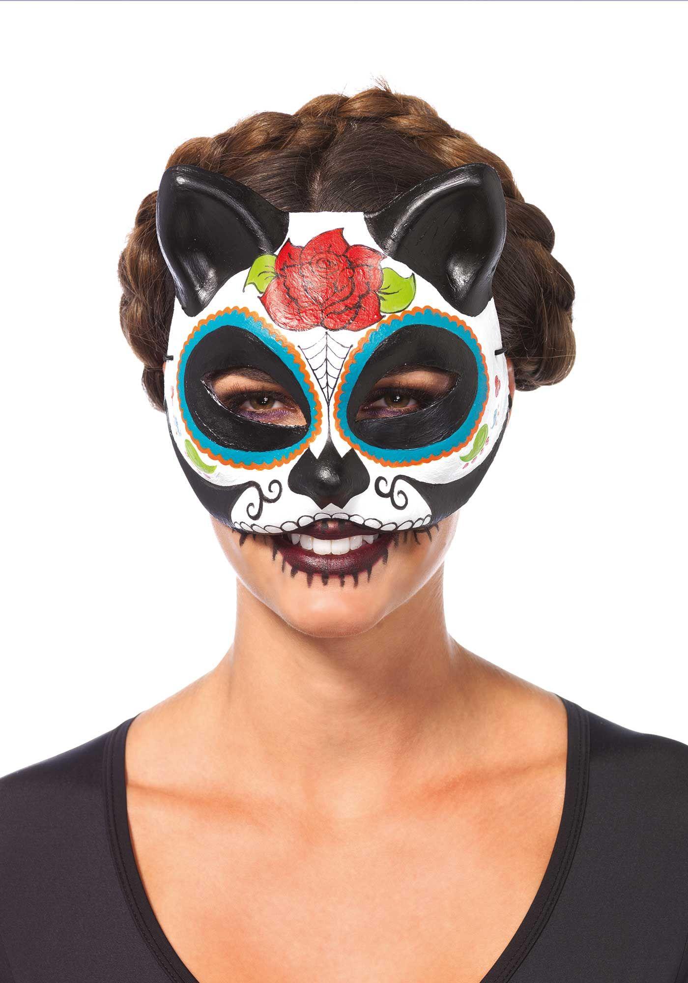 MASQUERADE maschera occhi HALLOWEEN Whiskers Occhi Maschera Costume GLITTER GATTO