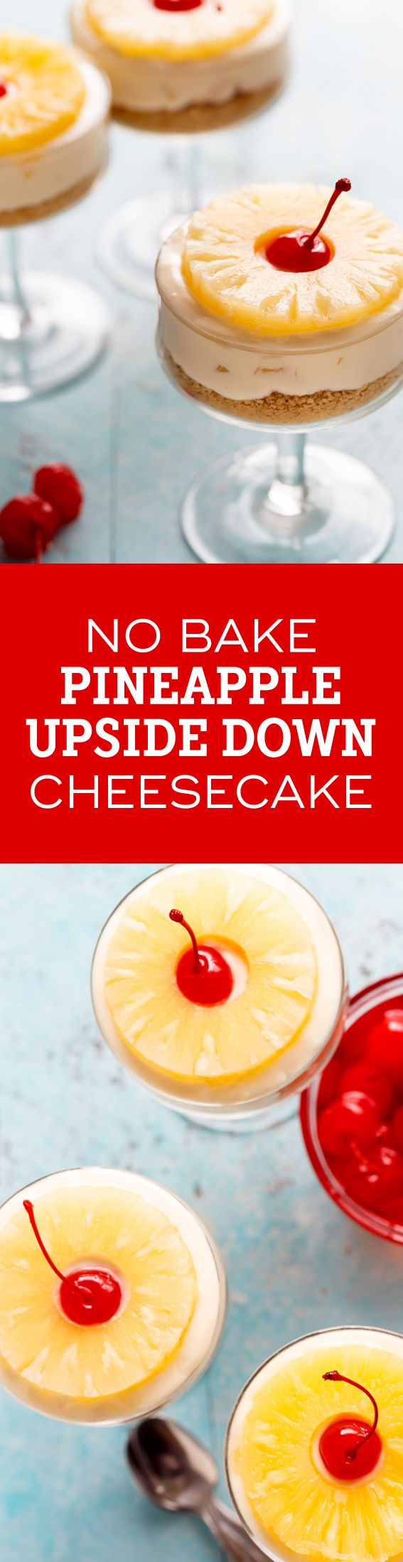 No Bake Pineapple Cheesecake gives you a sweet taste of pineapple in every bite. So delicious and perfect for summer! from @bakingaddiction