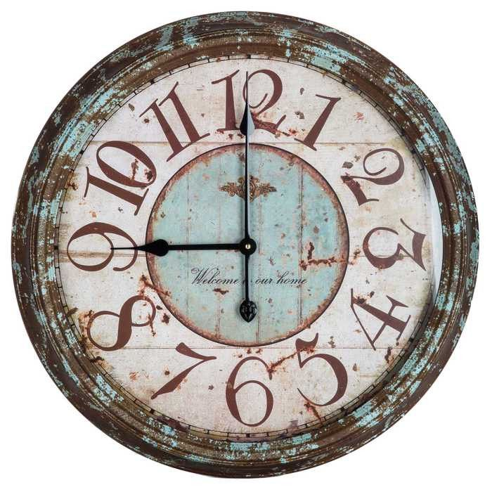 Large Rusty Turquoise Round Metal Wall Clock Treosti