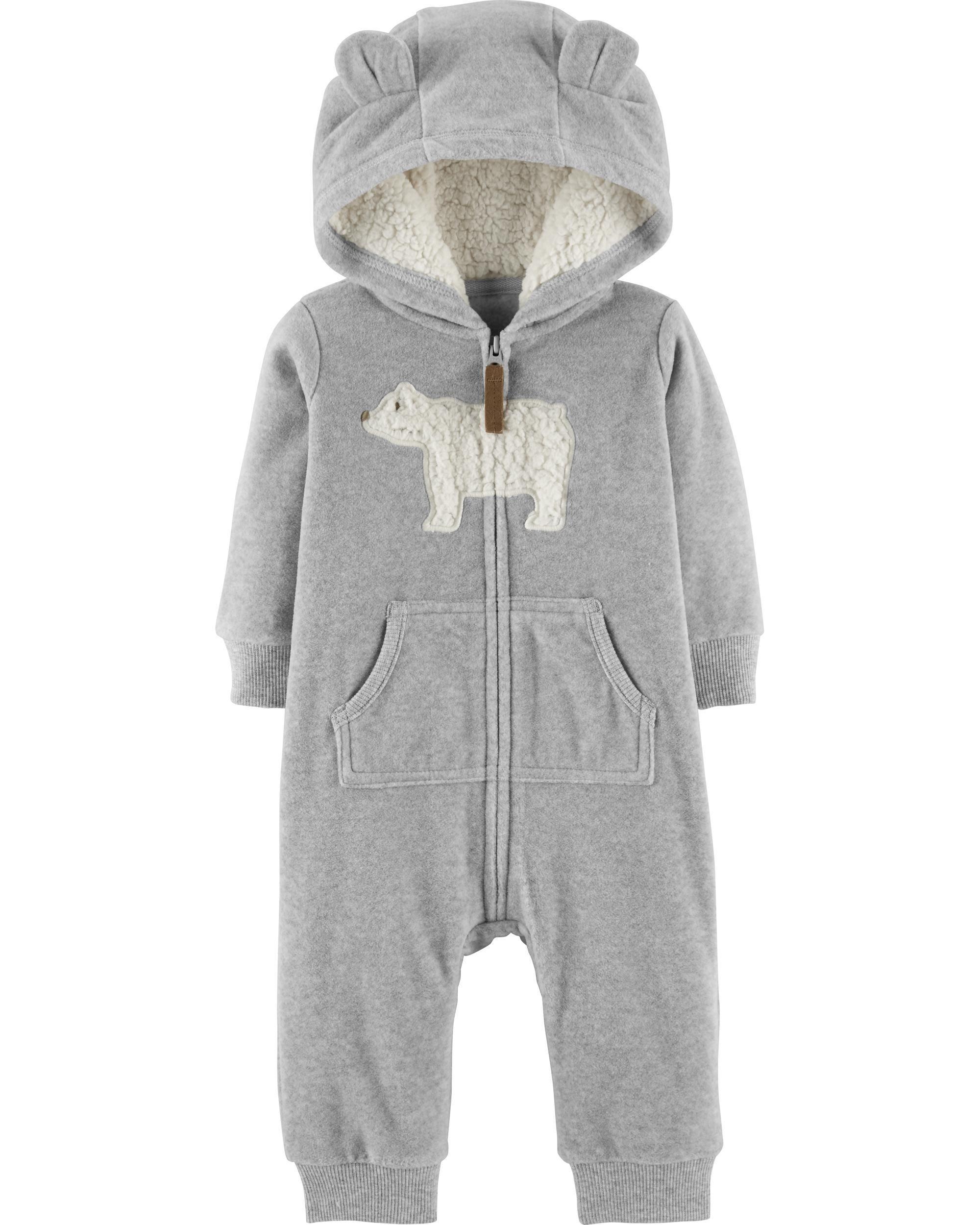 f272b49e2 Zip-Up Polar Bear Hooded Jumpsuit