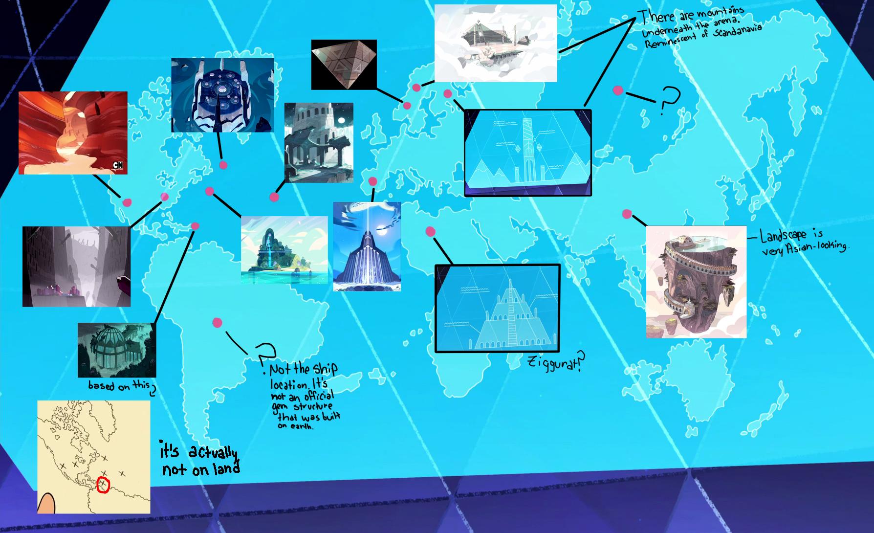 Map Of Gem Locations Steven Universe Universe Locations