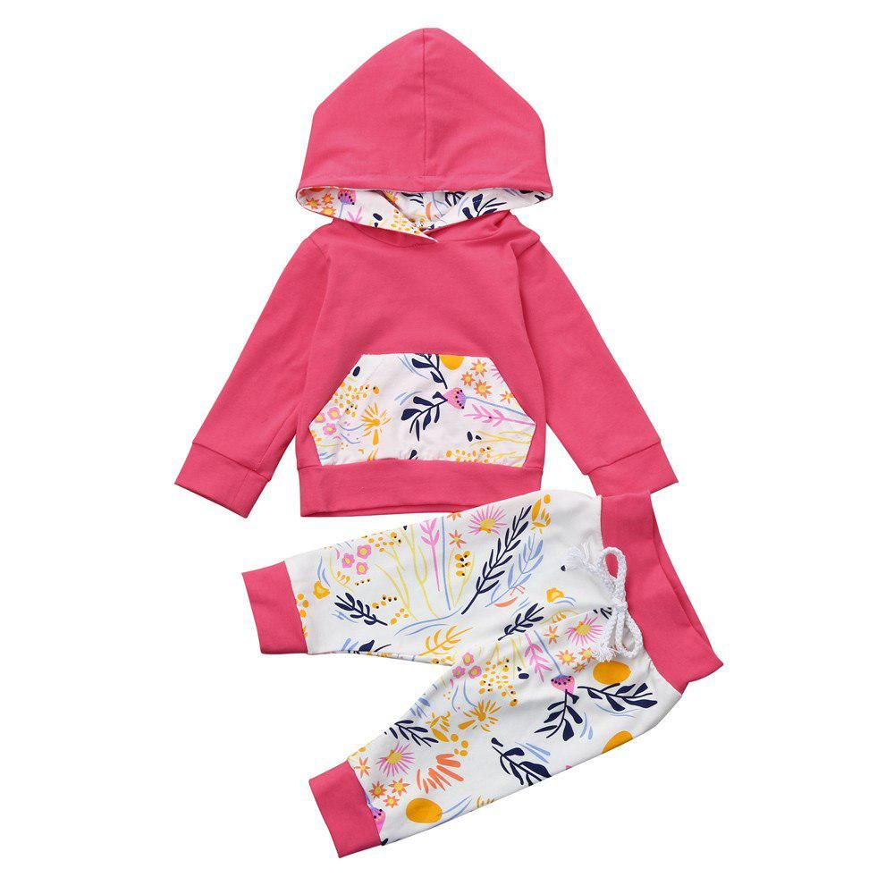 98c506f84caf9 2018 Baby Girl Winter Clothes Tracksuit Casual Newborn Infant Boys Girls  Floral Hoodies+Pants 2Pcs