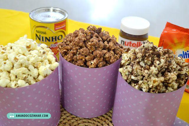 3 Receitas De Pipoca Doce Nutella Leite Ninho E Ovomaltine