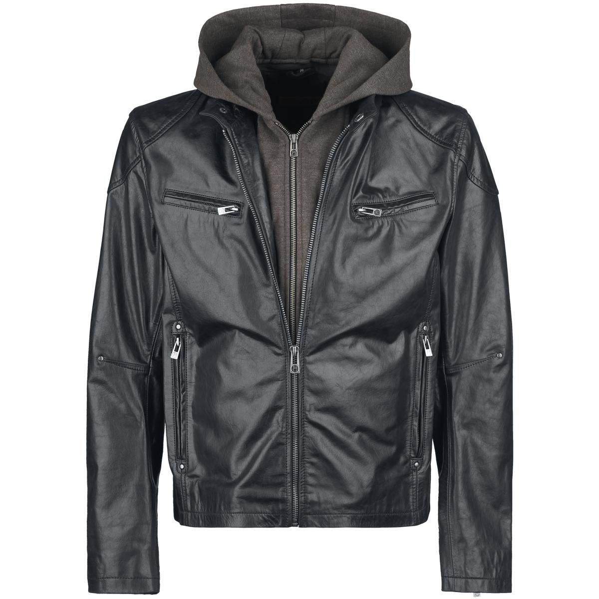 """""""EMP Black Premium"""" -uutuusmerkki, saatavilla yksinoikeudella EMP:ltä!    Tyylikäs nahkatakki, aitoa puhvelinnahkaa. Selässä iso Rockhand-logo, vuori ja irrotettava huppu 100% puuvillaa, hihojen vuori 100% polyesteria."""