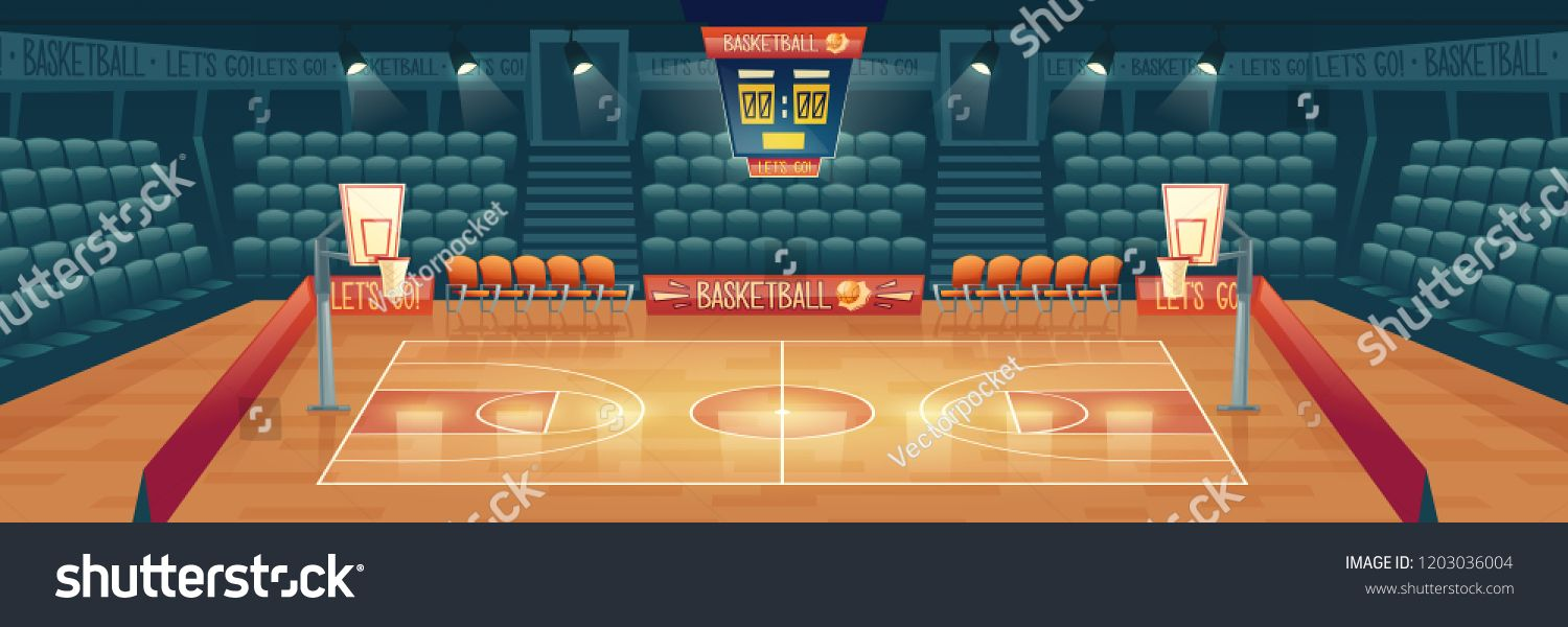 Vector Cartoon Background Of Empty Basketball Court Interior Of Sports Arena With Spotlights Seats And Place Cartoon Background Sports Arena Basketball Court