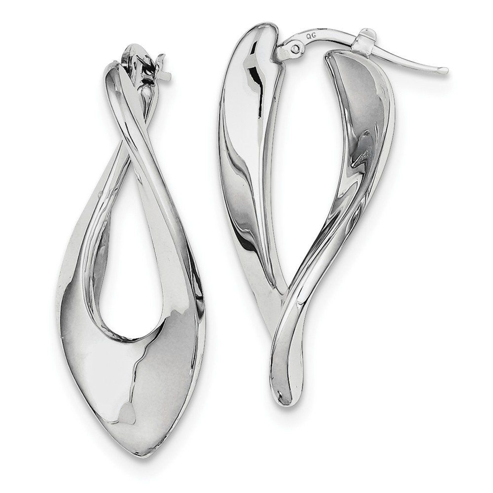 925 Sterling Silver Polished Rhodium Plated Hollow Twisted Hoop Earrings (39mm x 18mm). Sterling Silver. Genuine Precious Metal with Authentic Stamp. Superior Quality and Design. Free Gift Box with Every Purchase. 30 day No Haggle Stress Free Returns.
