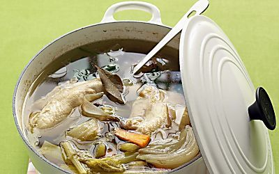 Cooking chicken breasts gently in a flavorful broth makes them moist, tender -- and healthy!