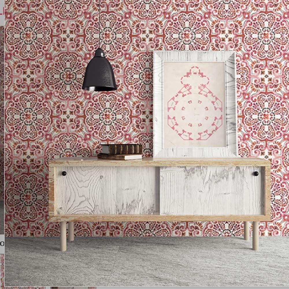 Casablanca Moroccan Mosaic Tile Effect Wallpaper in Pink