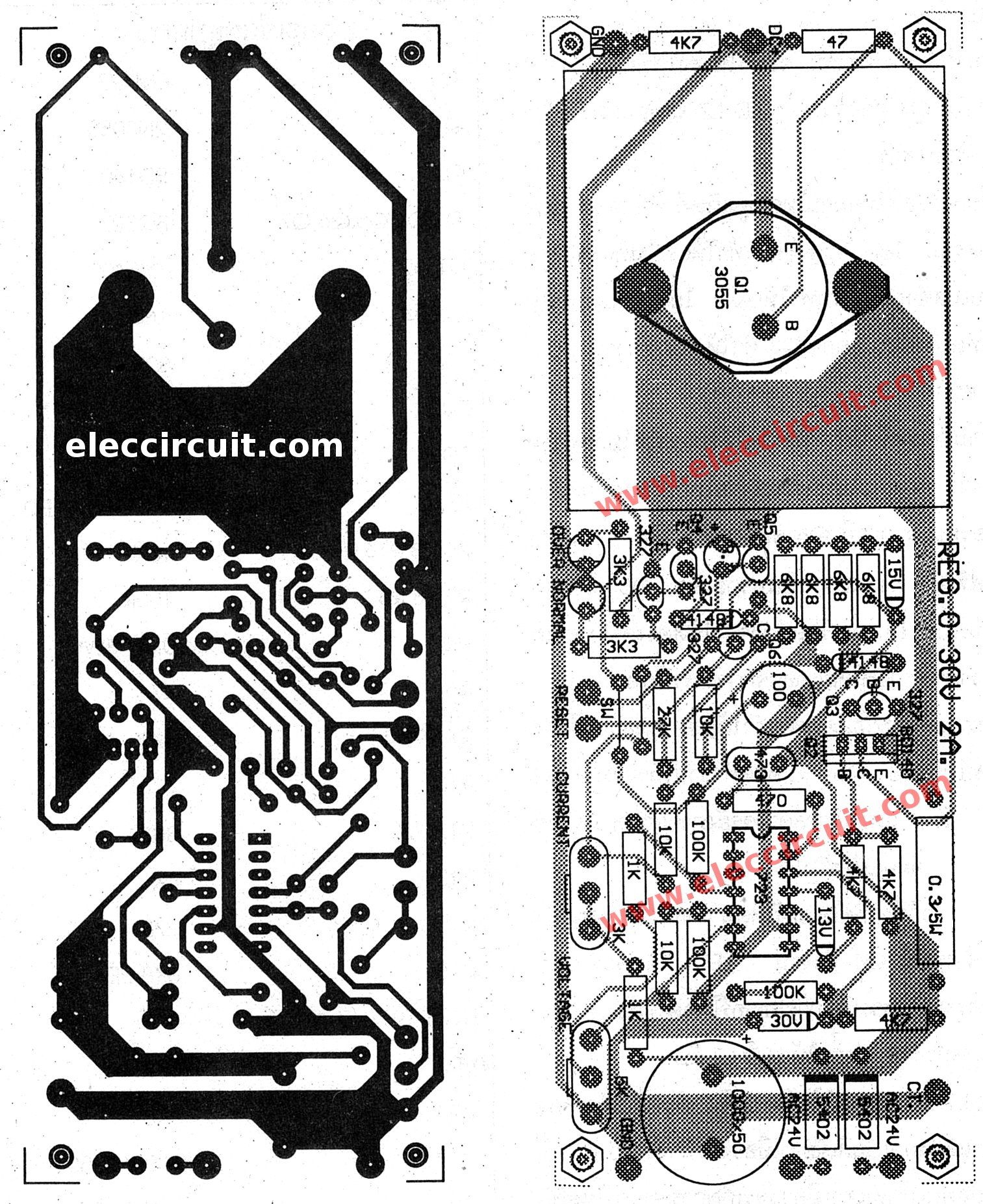 0 30v Variable Power Supply Circuit Diagram At 3a Eleccircuit Com Power Supply Circuit Circuit Diagram Switched Mode Power Supply