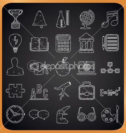 Education handdrawn icons on blackboard Hand drawn icon