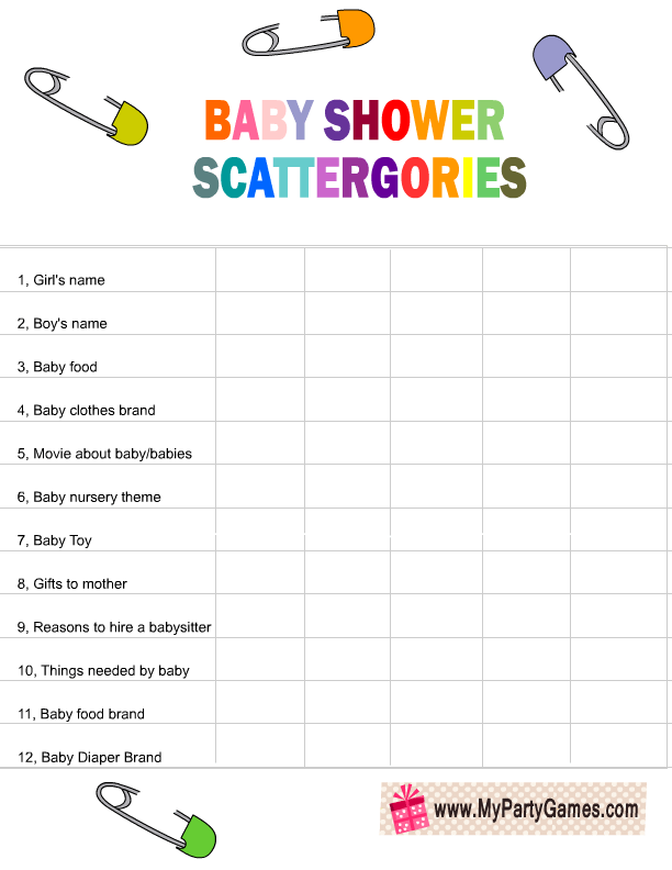 b6dba8fd58a96 Free Printable Baby Shower Scattergories Game List in Rainbow Colors ...