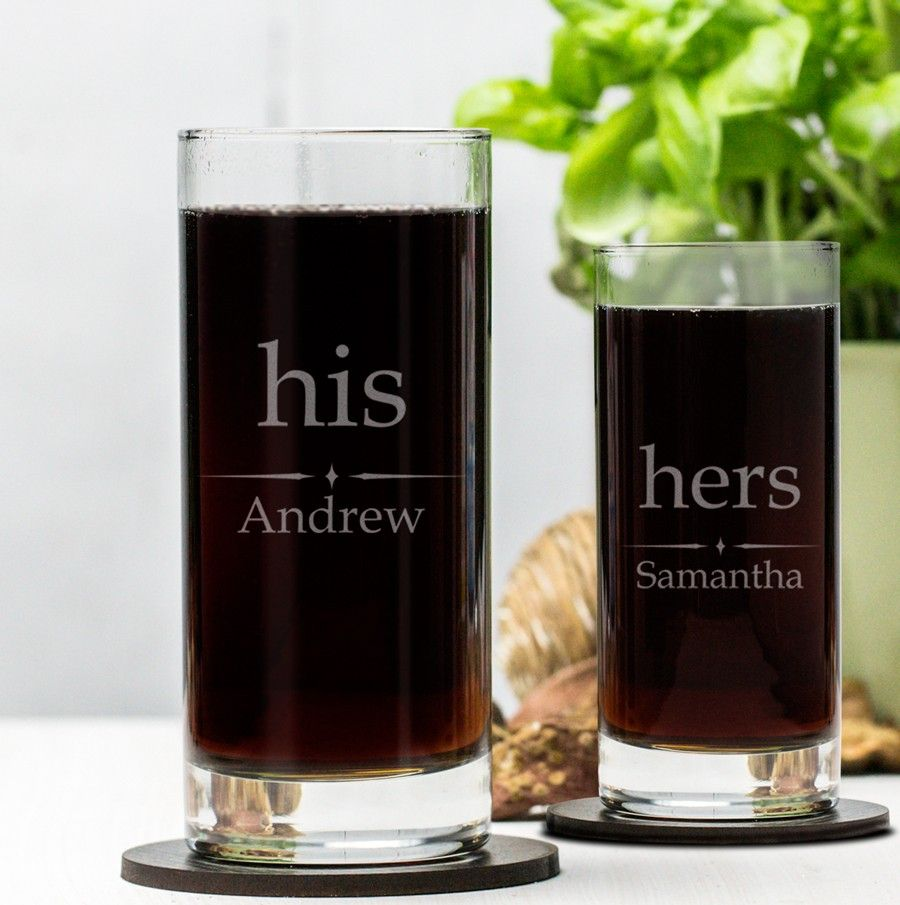 Engraved hi ball glass set his and hers engraved