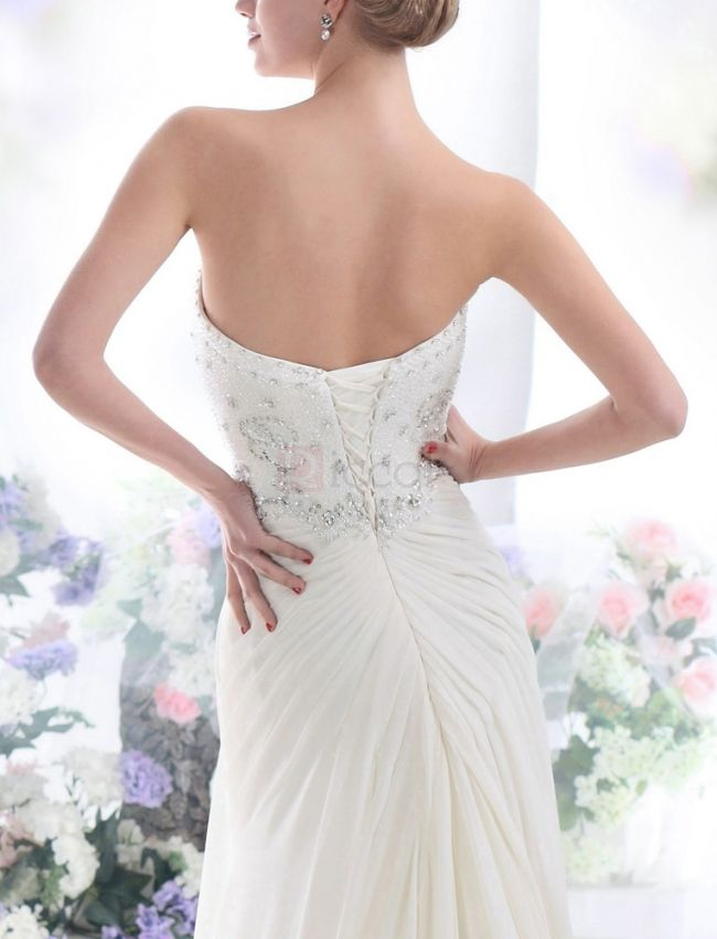 ❀ A-Line Chiffon Wedding Dresses Pleated Bandeau Sleeveless Floor-Length With Court Train | Riccol ❤