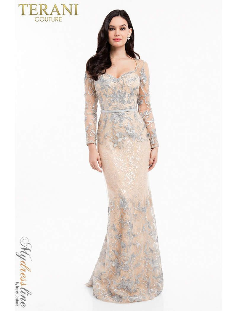 3201a3cdd567d Terani Couture 1823M7706 sparkles of matte silver sequins and metallic lace  frame this sweetheart neckline evening gown. a silver leather belt  accentuates ...