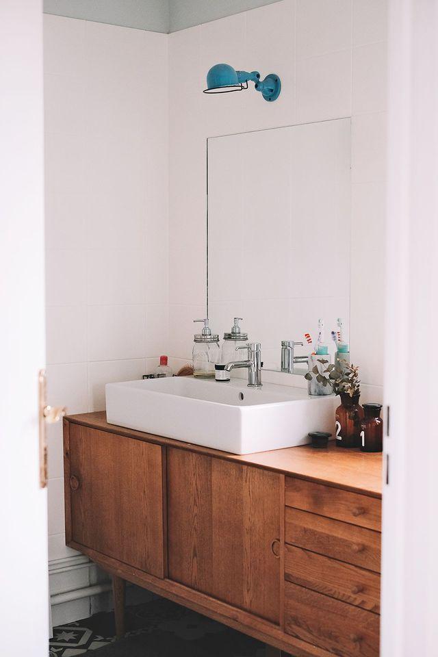 R novation petite salle de bain avec carreaux de ciment bathrooms sdb pinterest salle de for Petite salle de bain renovation