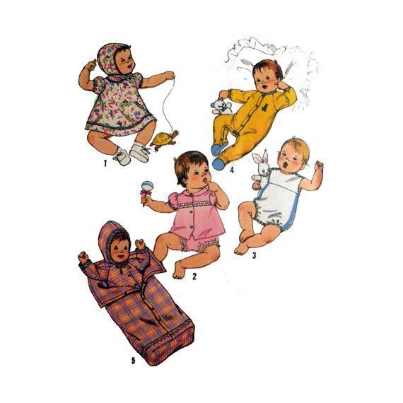 Babies Layette Pattern, Dress, Hat, Blouse, Panties, Sunsuit ...