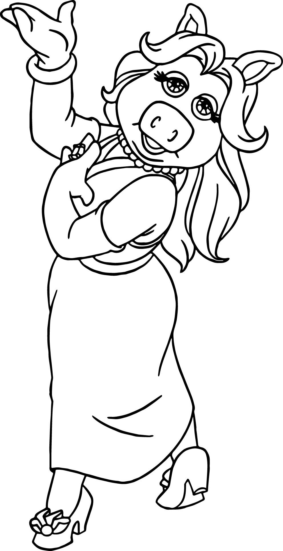 Miss Piggy From Muppet Babies Coloring Pages : Bulk Color | 1931x991
