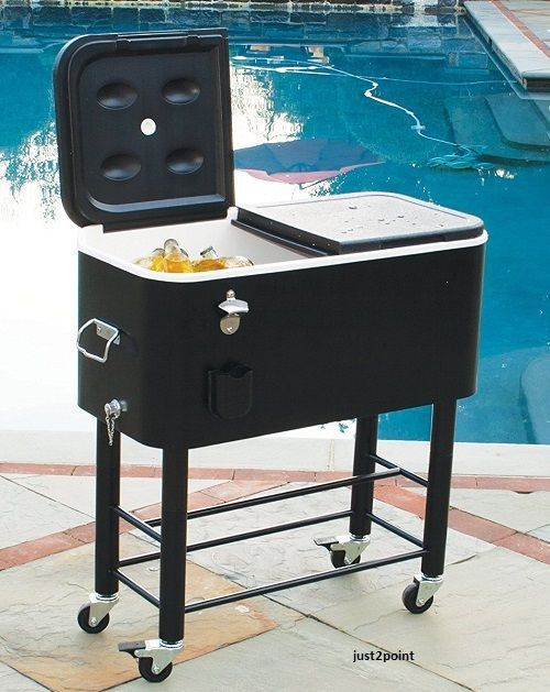 Patio Rolling Cooler Cart: Rolling Patio Cooler Party 77qt Cart Ice Portable Deck Bar