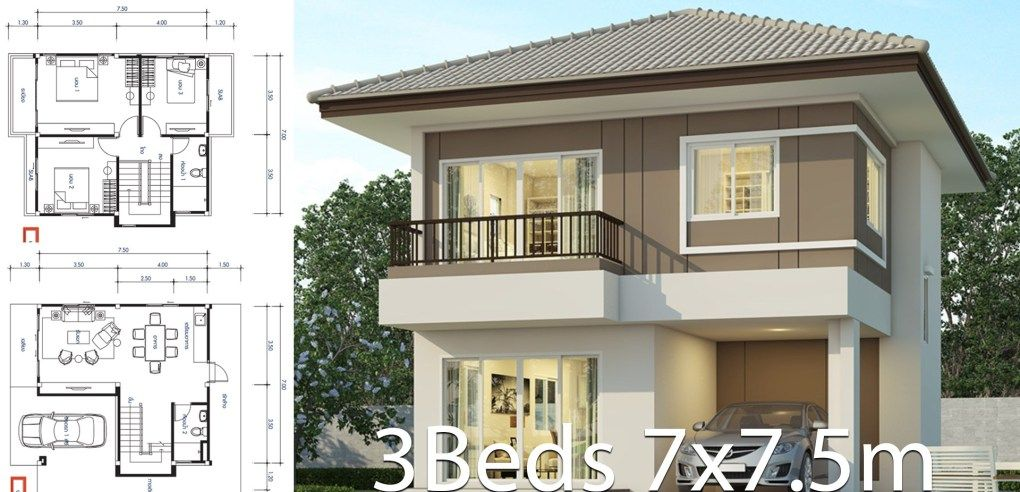 Plano De Diseno De La Casa 7 7 5m Con 3 Dormitorios 2 Storey House Design Simple Bungalow House Designs Philippines House Design
