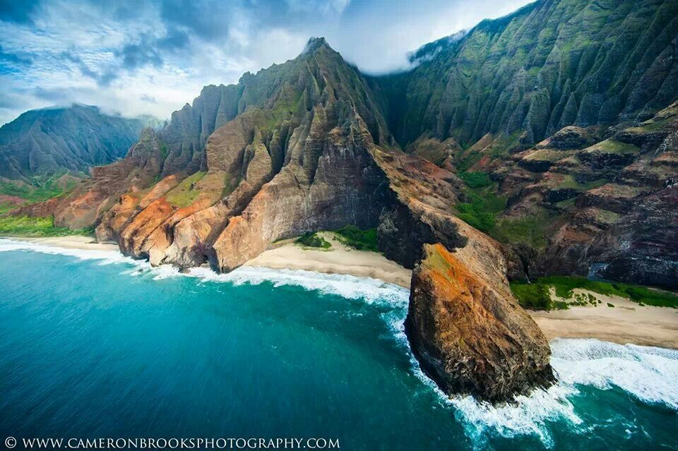 Mountain Kauai Beach Cliff Sea Sand Shrubs Aerial: Pinterest